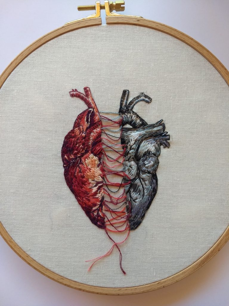A broken or torn heart. Embroidery by Julie Campbell