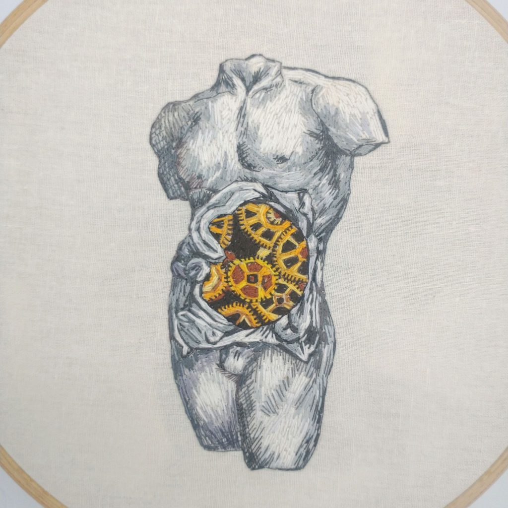 Embroidered human anatomy by Julie Campbell embroidery artist