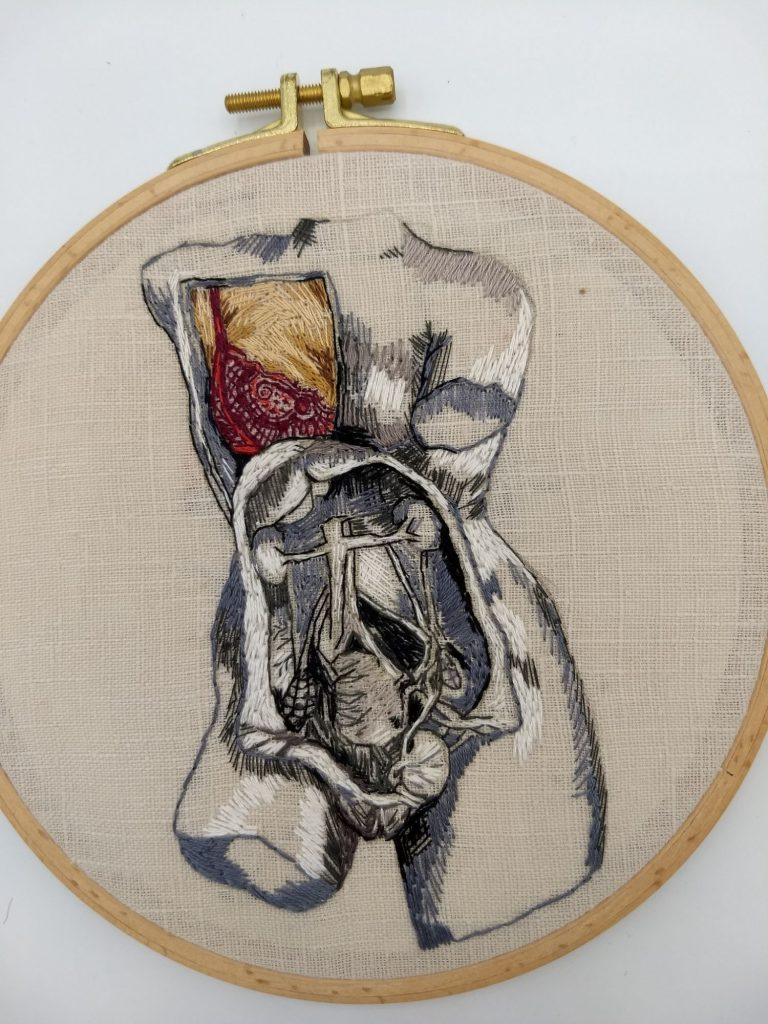 Human anatomy hand embroidery by Julie Campbell