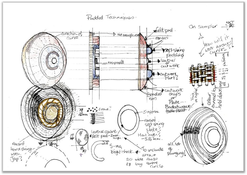 Design planning, hand Embroidery, Jacqui Davidson