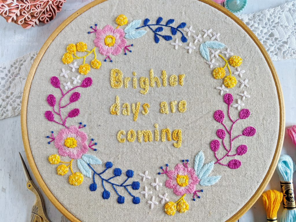 Brighter Days Are Coming, embroidery pattern