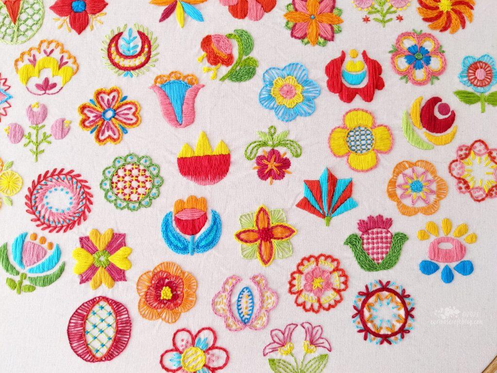 Fifty Folk Floral Dots Project by Carina Envoldsen-Harris