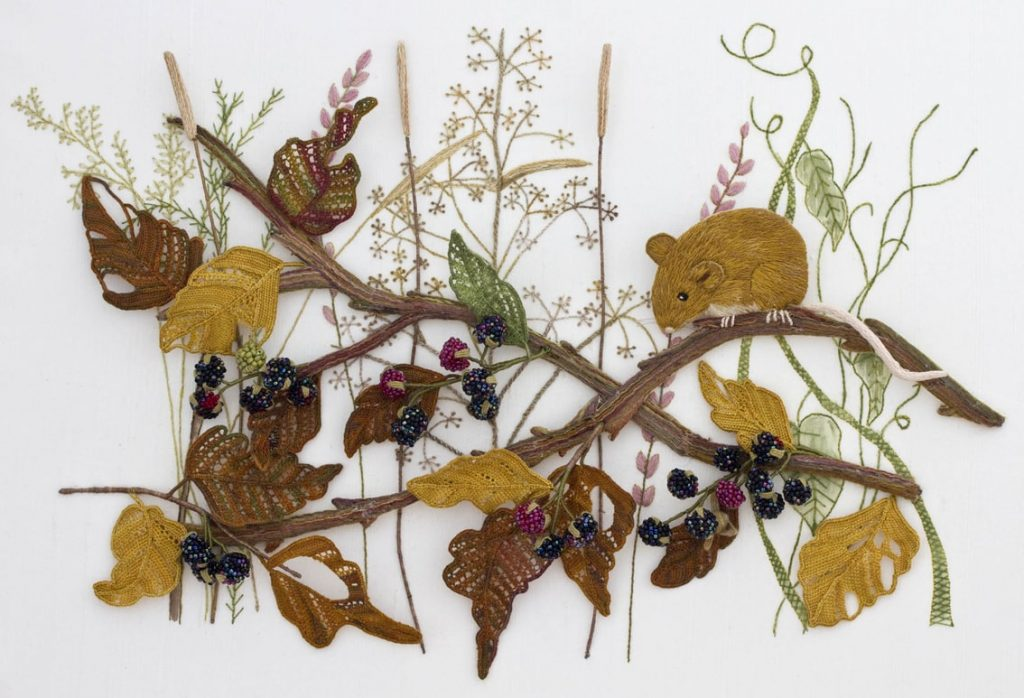 Mouse and Blackberries stumpwork embroidery by Kay Dennis