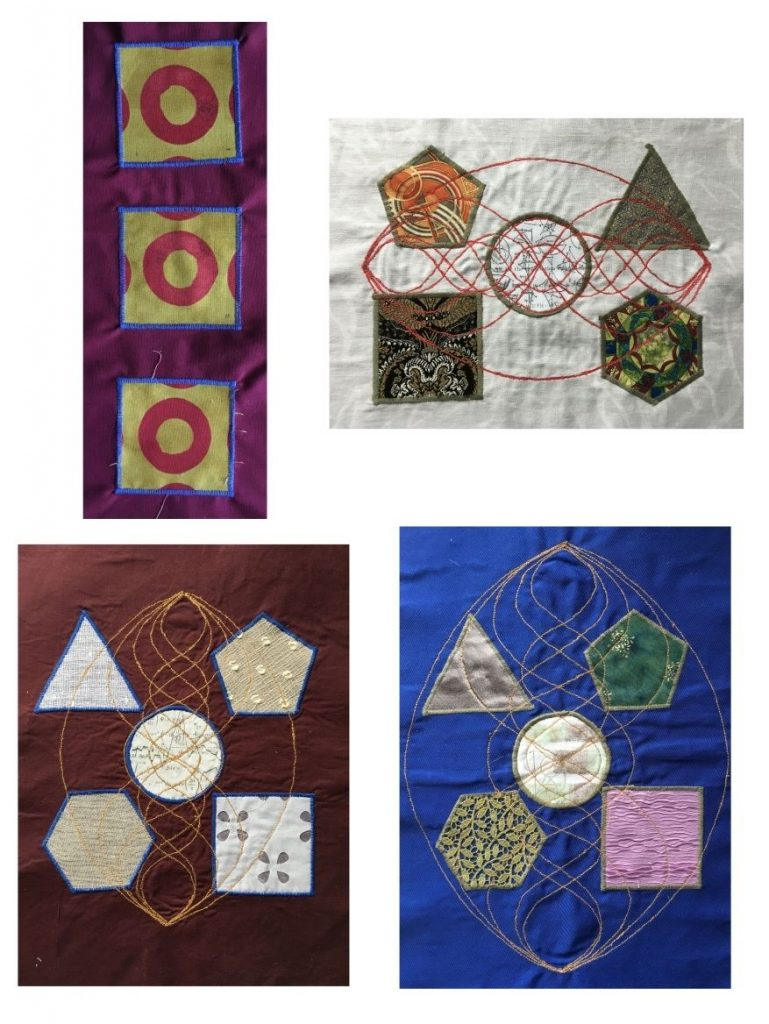 Attaching simple shapes using satin stitch samples by Gabrielle Theano