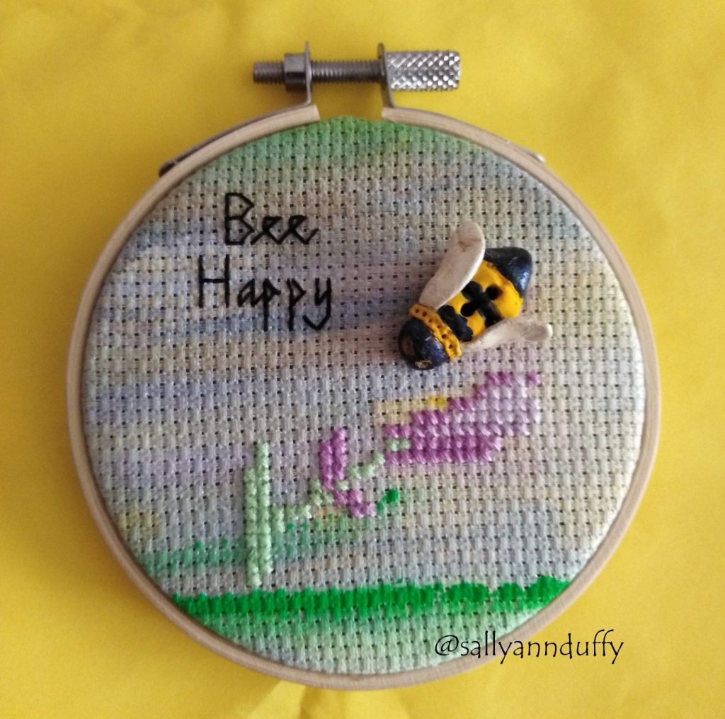 Bee Happy hand embroidery by Sally-Ann Duffy