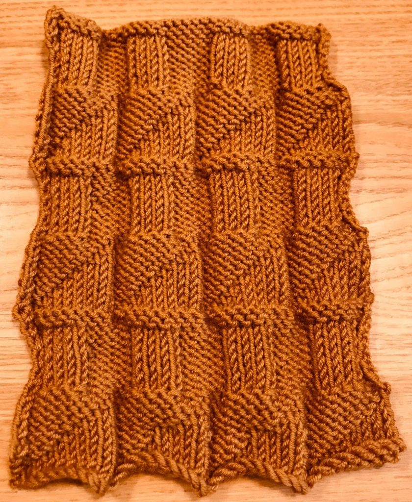 Knitting sample by Susan Rorison, Skill Stage 2 Knitting Course