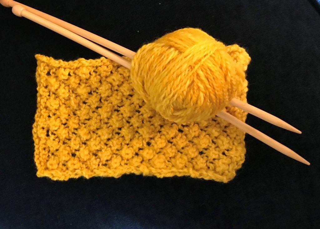 Bobbles sample by knitting graduate, Susan Rorison
