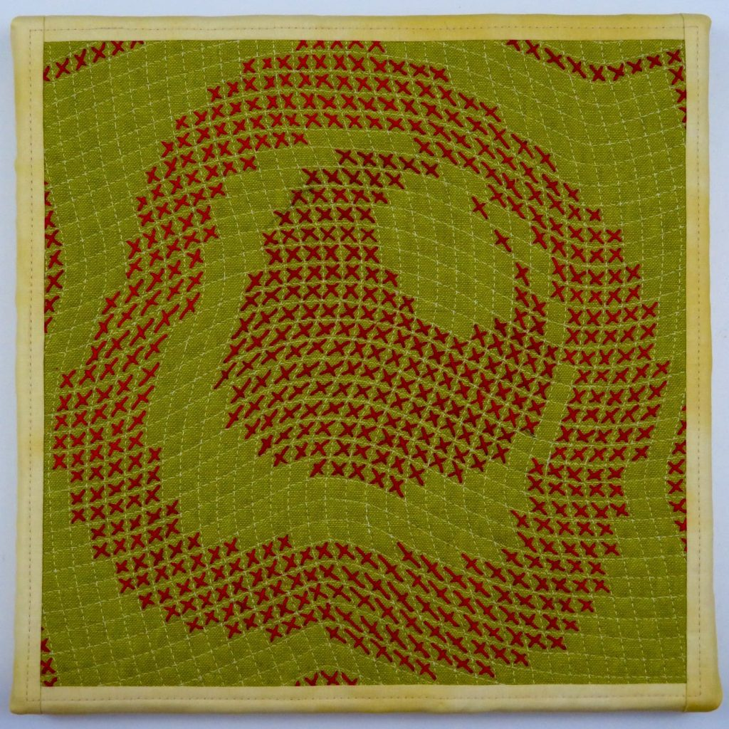 Hand stitched squares by catherine redofrd