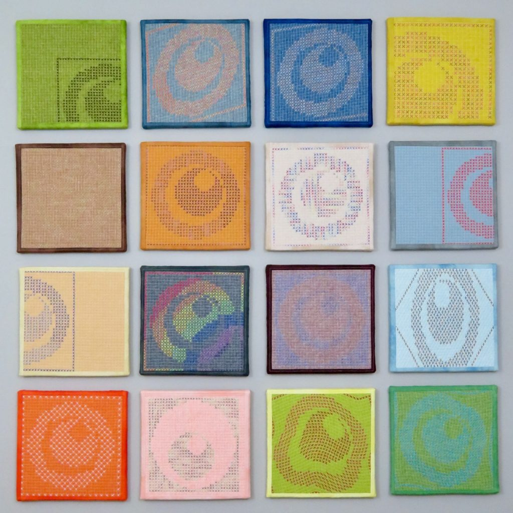 Collection of hand stitched squares by Catherine Reford
