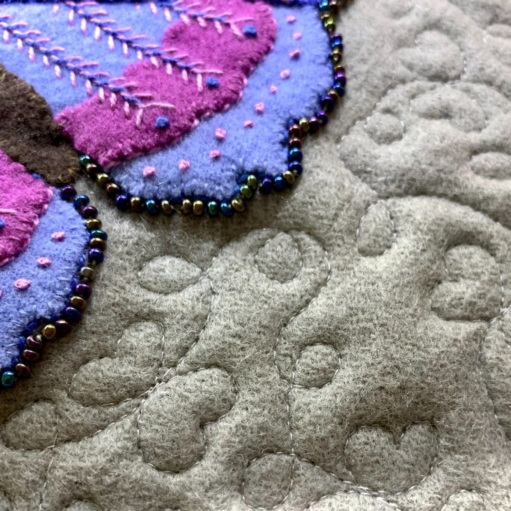 Catherine Redford loves to mix hand embroidery with quilting teachniques