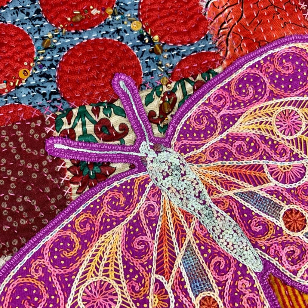 Butterfly stitches quilt by Catherine Redford
