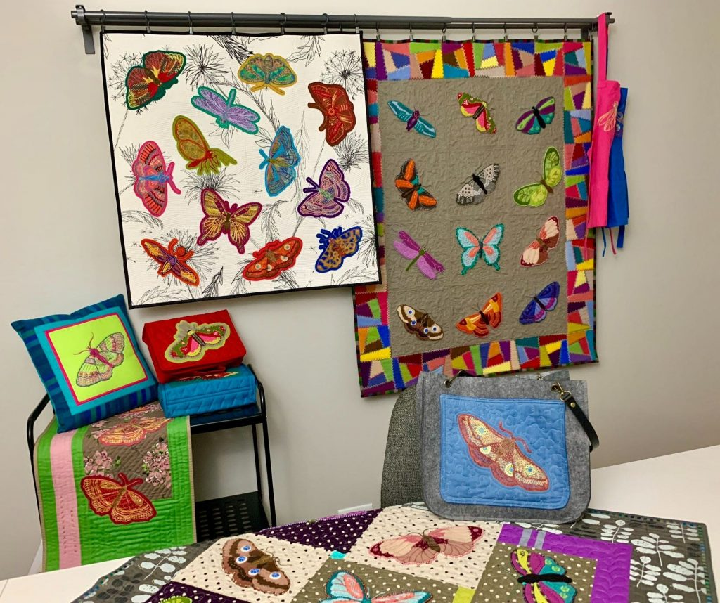 Hand Embroidered butterfly stitches by Catherine Redford