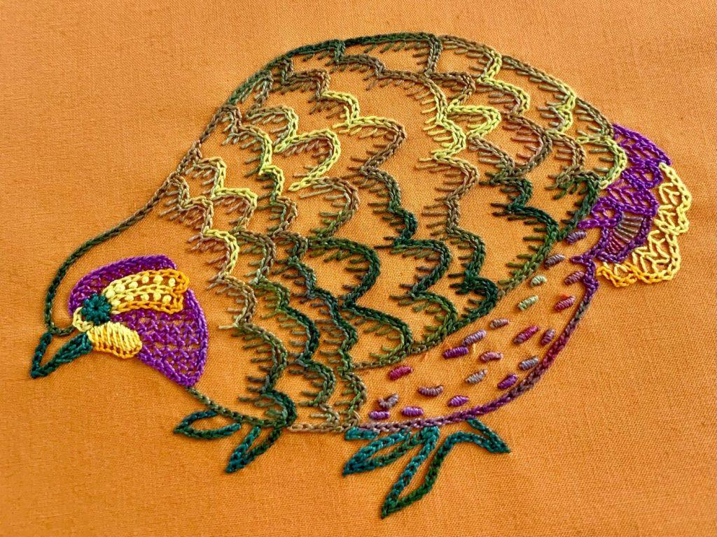 Chain Stitch, hand embroidered chicken