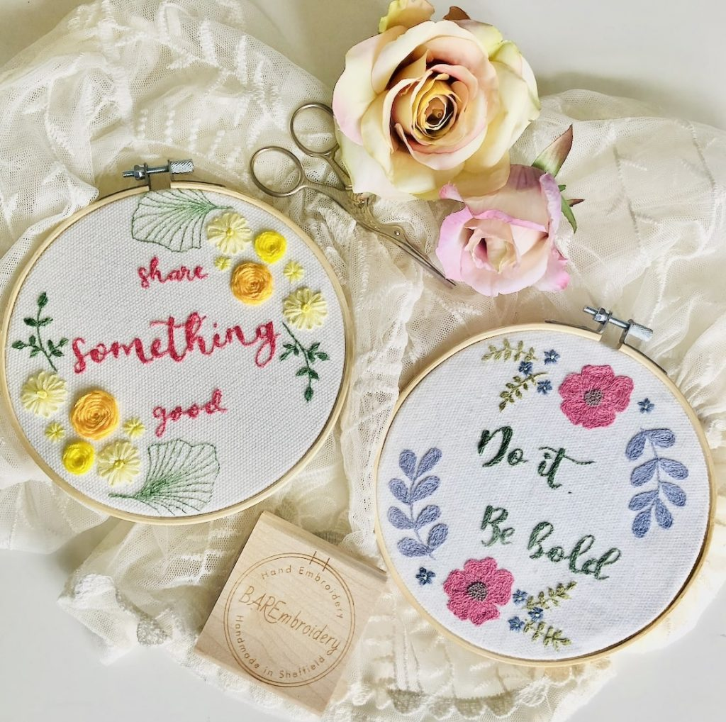 Hand embroidery work by Beth Rhodes