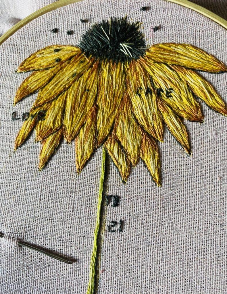 Bursary finalist, Tina Barnett, hand embroidery