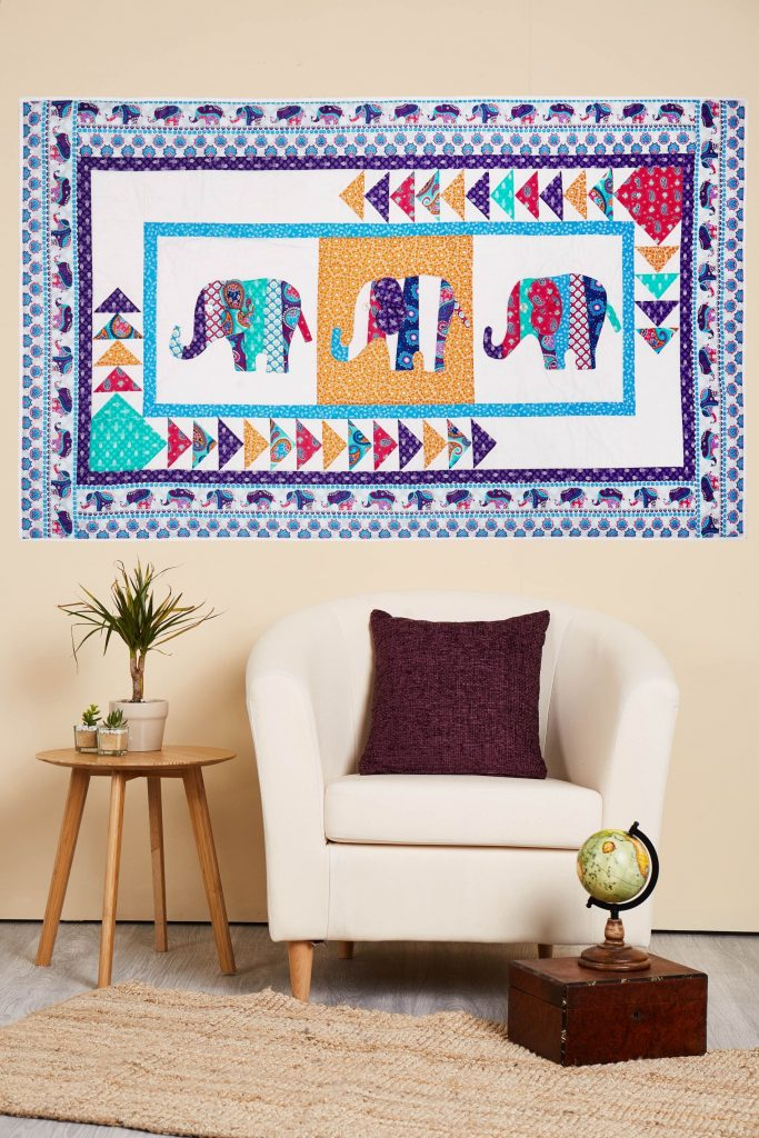 Elephants on Parade Quilt for Quilt Now Magazine.