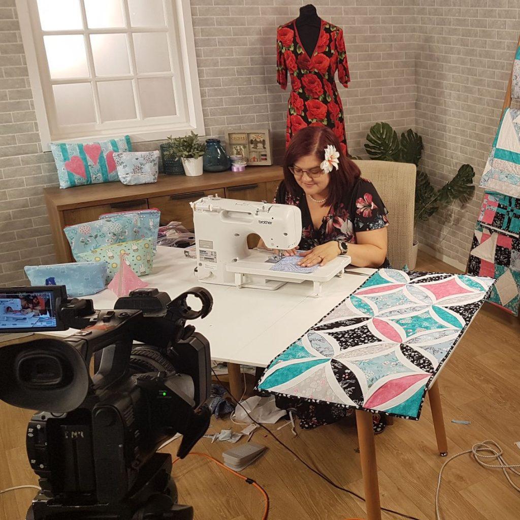 Sarah Payne filming in the promo studio