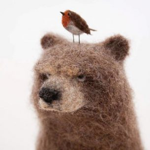 Felted bear with robin on his head by Lindsey Thomas